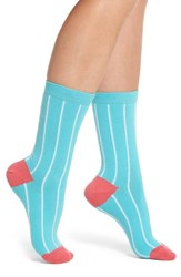 Paul Smith Edna Pinstripe Crew Socks Teal