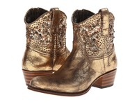 Frye Deborah Studded Gold Glazed Vintage Leather Cowboy Boots Animal Print
