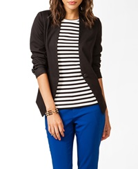 Forever 21 Collarless Faux Leather Blazer Black Black