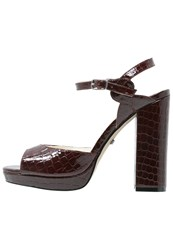 Buffalo High Heeled Sandals Red Bordeaux