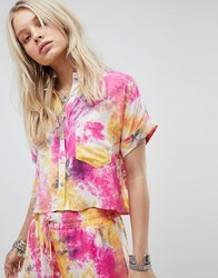 Kiss The Sky Crop Shirt In Tie Dye Co Ord Multi