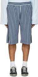 Msgm Blue Striped Shorts