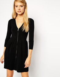 Asos Structured Knit Skater Dress With Zip Front Black