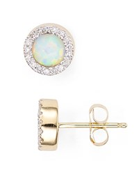 Adina Reyter Opal And Diamond Disc Stud Earrings Gold