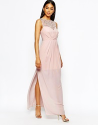 Lipsy Sweetheart Maxi Dress With Embellished Bust Pink