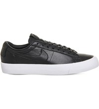 Nike Blazer Studio Leather Low Top Trainers Black White Qs