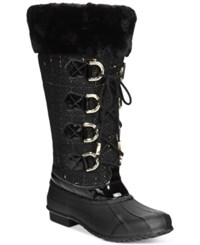 Inc International Concepts Lorinah Tweed Boots Only At Macy's Women's Shoes Black Gold