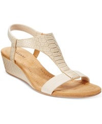 Alfani Vacanza Wedge Sandals Only At Macy's Women's Shoes Stone Metallic Python