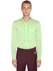 Prada Ruffled Jersey Shirt Mint