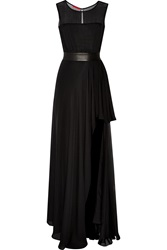 Tamara Mellon Leather Trimmed Silk Chiffon Gown