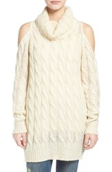 Junior Women's Dreamers By Debut Cowl Neck Cable Knit Sweater