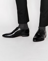 Asos Oxford Shoes In Black Leather With Brogue Toe Detail Black