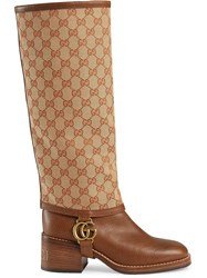 Gucci Leather Boot With Gg Gaiter Brown