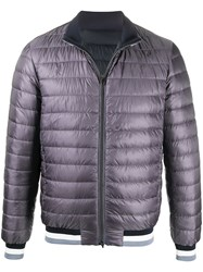 Herno Striped Neck Quilted Bomber Jacket 60