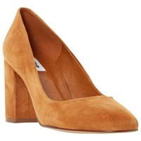Dune Abell Block Heeled Round Toe Court Shoes Tan Suede