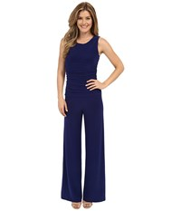 Norma Kamali Sleeveless Shirred Waist Jumpsuit Blueberry 1 Women's Jumpsuit And Rompers One Piece