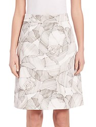 Boss Victyna Printed A Line Skirt White