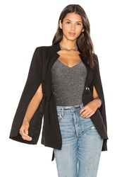 Lavish Alice Tie Front Split Sleeve Blazer Black