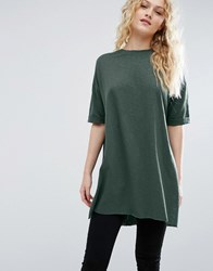 Asos T Shirt With Side Split And Longline Oversized Fit In Textured Jersey Green