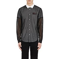 Hood By Air Men's Logo Layered Button Front Shirt No Color