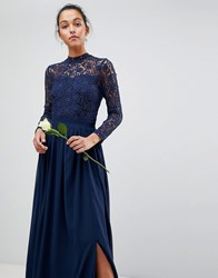 Club L High Neck Crochet Lace Maxi Dress With Long Sleeves Navy