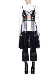 Alexander Mcqueen Floral Embroidered Tulle Lace Bustier Dress Black