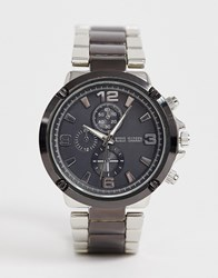 Steve Madden Gunmetal Two Tone Watch With Black Dial