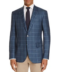 Jack Victor Windowpane Classic Fit Sport Coat Blue