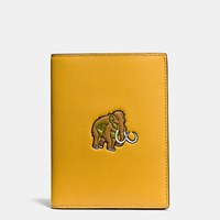 Coach Beast Passport Case In Glovetanned Leather Flax