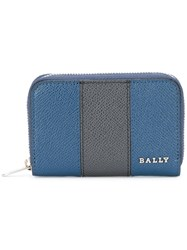 Bally Striped Zip Up Wallet Blue