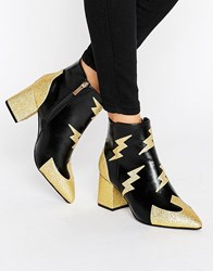 Daisy Street Lighting Heeled Ankle Boots Black Gold Multi