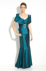 Women's Daymor Taffeta Jacket With Trumpet Skirt Teal Blue