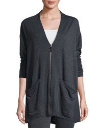 Max Studio Soft Knit Terry Cardigan Charcoal N