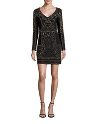 Xscape Evenings Long Sleeve Beaded Sheath Dress Black Antique