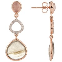 John Lewis Gemstones Labradorite Cubic Zirconia And Rose Quartz Triple Drop Earrings Rose Gold