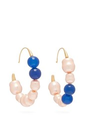 Peter Pilotto Mismatched Faux Pearl Hoop Earrings Blue