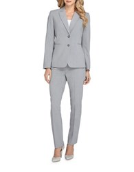 Tahari By Arthur S. Levine Petite Peak Lapel Two Button Cuff Sleeve Jacket Pant Suit Heather Grey