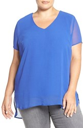 Vince Camuto Plus Size Women's Sheer V Neck Blouse With Knit Underlay