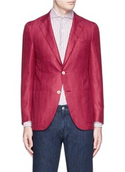 Isaia 'Sailor' Wool Silk Linen Blazer Red