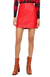Topshop Petite Faux Leather Miniskirt Red