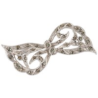 Susan Caplan Vintage 1940S Silver Plated Marcasite Bow Brooch Silver