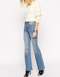 Asos Farleigh Flare Jeans In Vintage Wash With Ripped Knee Vintagewash