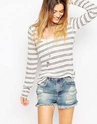 Free People Long Sleeve Layering Stripe Top Ivorycombo