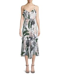 Milly Tropic Print Sleeveless Petal Midi Dress Multi