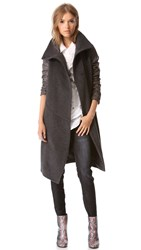 Tess Giberson Leather Sleeve Trench Coat Grey