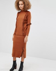 Warehouse Ruffle Skirt Co Ord Spice Copper