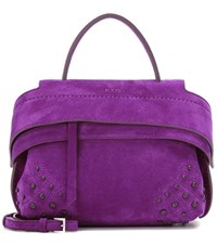 Tod's Wave Micro Suede Tote Purple
