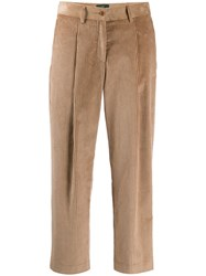 Jejia Cropped Corduroy Trousers Neutrals