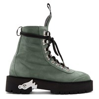 Off White Green Suede Hiking Boots