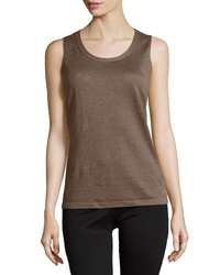 Lafayette 148 New York Scoop Neck Sleeveless Linen Shell Nougat